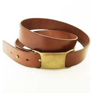 J. Crew Brown Italian Leather and Brass Belt